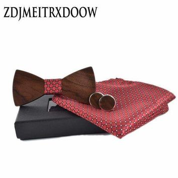 ICIKON3 2018 new fashion wedding bow Wooden bow tie Cufflinks Kerchief Preferential suit  Tie gravata Suits shirts wooden ties set