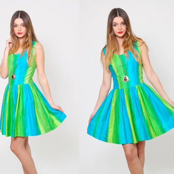 Vintage 50s Mini Dress SLEEVELESS Bright  Aqua and Lime Green PLEATED Striped SKATER Dress