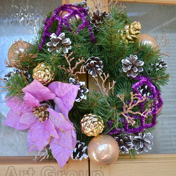Christmas Door Wreath Holiday Wreath Christmas Decoration New Year Traditional Door Wreath Charm for home Noel Handmade
