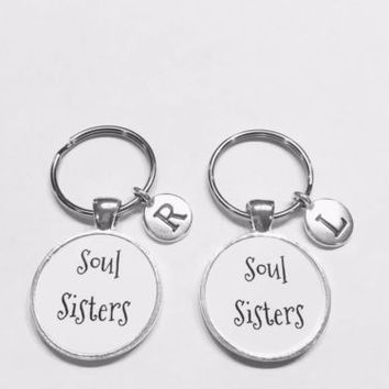Choose Initial, Soul Sisters Gift BFF Friend Friendship Keychain Set