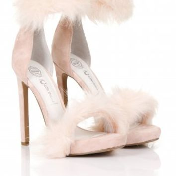 Cookie Blush Fur Trim Sandals | JEFFREY CAMPBELL | Lavish Alice