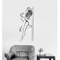 Vinyl Decal Striptease Pole Dance Night Club Sexy Woman Wall Stickers Mural Unique Gift (ig2664)