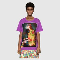 Gucci Women Purple Short Sleeve Pure cotton Print Round collar Top