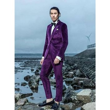 2017 Latest Coat Pant Design Purple Velvet Men Suit Set Slim Fit Tuxedo (Jacket+Pants) Casual Groom Wedding Suit Terno Masculino
