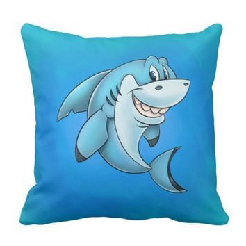 Fun cartoon shark kids pillow