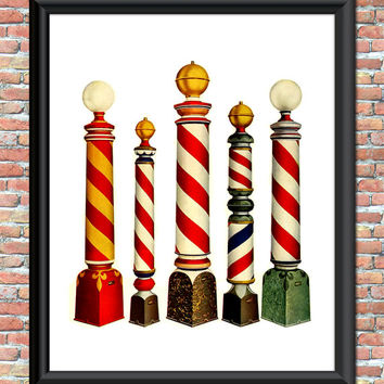 Vintage Barber Shop Poles Art Print Haircuts Printable Digital Download