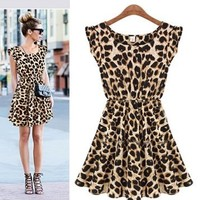 Women One Piece Dress Leopard Print Casual Microfiber Sundress Big size M L XL 12054 (Large):Amazon:Sports & Outdoors