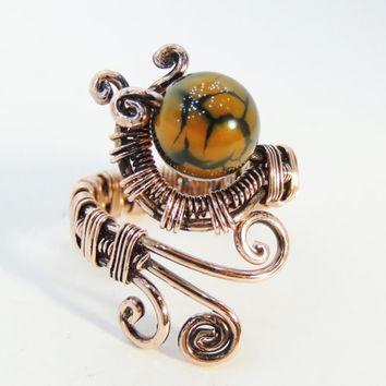 fire agate wire ring, wire wrap ring, wrapping ring