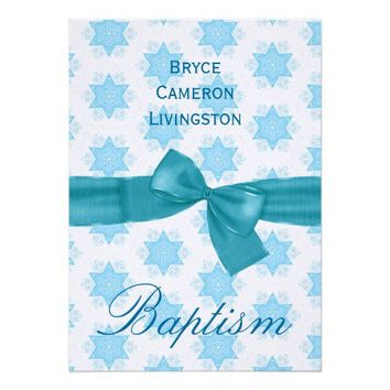 Baby Boy Christening Blue Stars Invitation PERSONALIZE with Ceremony Details