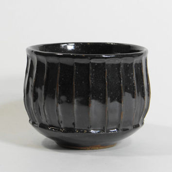 Black fluted stoneware tea bowl, chawan, yunomi, teacup, tea cup, small bowl, decorative bowl, father's day gift