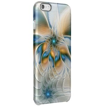 Soaring, Abstract Fantasy Fractal Art With Blue Clear iPhone 6 Plus Case