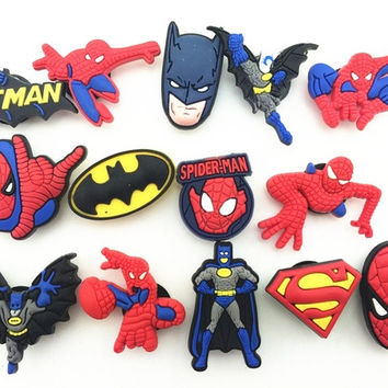 14Pcs/lot Batman spiderman super hero  pvc shoe decoration,shoe charms,Shoe Accessories fit croc shoes & wristband for Children Gift = 1927809540
