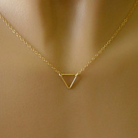 Minimalist Gold Triangle Necklace - Simple - Small - Dainty