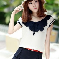 Kawaii Lolita Petal Sleeve Chiffon Shirt - Pink, Dark Blue or White - M L XL from Tobi's Finds