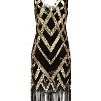 1920's Vintage Beads Sequin Cocktail Dress - Roaring 20s Plus Size Gatsby Dress