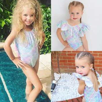 Toddler Cute Kids Baby Girls Swim Mermaid Leotard Swimwear Swimsuit Bikini Set Bathing Suit Costume Colthing Bodysuit