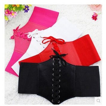 2014 Newest Fashion Women Body Shaping Bands Wide Waist Belt Cummerbund Wide Stretchy Faux Leather Cummerbunds Corset Belts = 1930127108