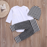 3 Pcs Newborn Toddler Kids Baby Boys Outfit Clothes Solid White Bodysuit Onesuit+ Pants+Hat  3PCS Set Clothing