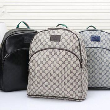 ONETOW Gucci' Men Fashion Casual Simple Classic Print Backpack Large Capacity Travel Double Shoulder Bag
