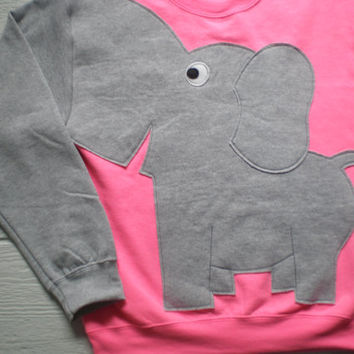 Flourescent pink elephant sweatshirt, elephant shirt, elephant trunk sweater, elephant jumper. Adult size medium.