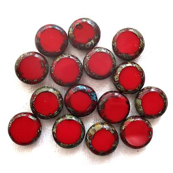 Lot of 15 Czech red glass coin disc beads - 11mm flat round beads - opaque bright red red picasso beads 02201
