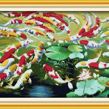 Wealthy fishes 66 fishes small edition cross stitch kits  white 11ct printed embroidery DIY handmade needle work wall home decor