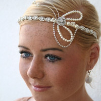 1920s Flapper Style Brow Tiara Headpiece by adorabubblejewellery