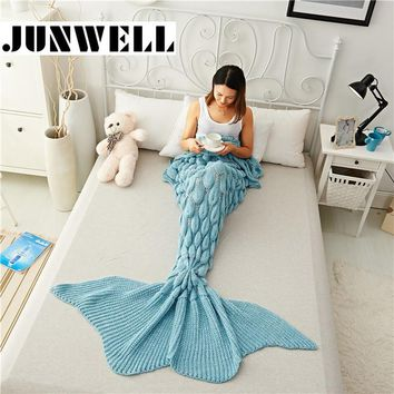 Mermaid Tail Blanket Yarn Knitted Handmade Crochet Mermaid Blanket Kids Throw Bed Wrap Super Soft Sleeping Bed 1PCS/Lot