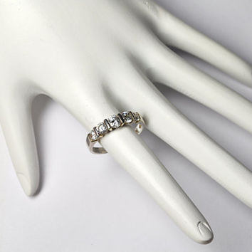 Vintage 925 SILVER Diamonique CZ Ring, Cubic Zirconia Ring, Five Stone Ring, Anniversary, Bridal,  Size 7 3/4,  Dazzling!  #A875