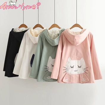 Spring Women Jacket Coat Japanese Style Mori Girl Kawaii Cat Embroidery Lace Hooded Long Sleeve Casual Jacket Outerwear Female