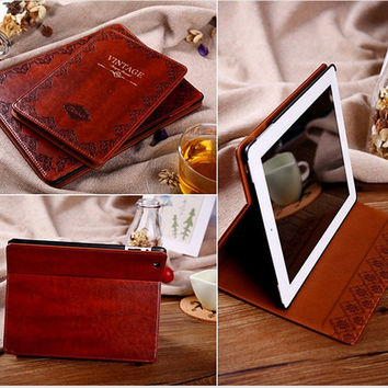Luxury Retro Ancient Vintage Old Flip Book Style PU Leather Case Magnetic Stand Smart Cover For iPad 2 iPad3 iPad 4