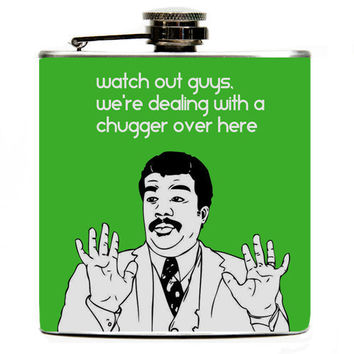 Funny Meme Neil deGrasse Tyson Reaction 6oz Hip Flask. Lime Green or Customizable Background