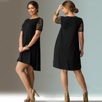 Plus Size Women Clothing New Elegant Women Dress 2016 Lace Sleeve Mini Summer Dress A-Line Black Loose Casual Dress Vestidos