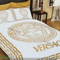 Versace Bedding Set Bedroom Duvet Cover Sheet Pillowcases 100% Cotton Gold