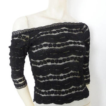Black Knit Lace Shirt Top Sleeves 7/8 and lower Back  Sheer Tango Ballet Top Size US 4/6 Eu 34/36  Tango Chamise Evening Top