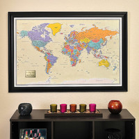 Personalized World Travel Map with Pins, Tan Oceans and Frame