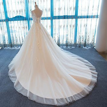 SL-55 V-Neck Beach Wedding Gowns Plus Size Cheap Wedding Dress Lace