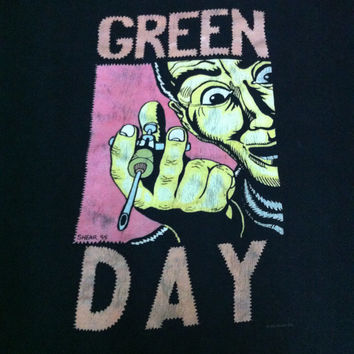 Vintage 90s Green DAY Insomniac Long Sleeve XL Black T shirt Punk Rock