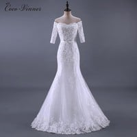 C.V Real Photo Beading Lace Mermaid Wedding Dresses 2017 New Half Sleeve Sashes Appliques Fish Tail Bridal Wedding Gown W0184