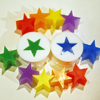 interchangeable plugs ...choose size... silicone STAR rainbow custom mood ring 3 SETS of inserts ...made to order...