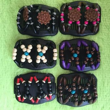 Vintage Magic Butterfly Wood Beads Stretchy Hair Clip Slide Updo Hair Comb New Double Clips Hair Slide Combs Hair Accessories