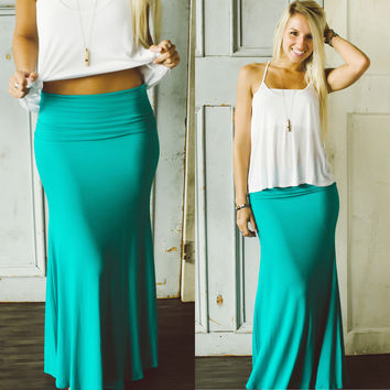 Never Look Back Maxi Skirt (Turquoise) - Piace Boutique