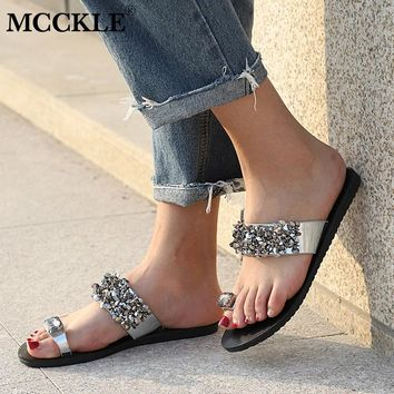 MCCKLE Women Summer Flip Flops Plus Size Flat Slippers Fashion Crystal Woman Shoes Casual Bling Slides For Female Outdoor Shoe