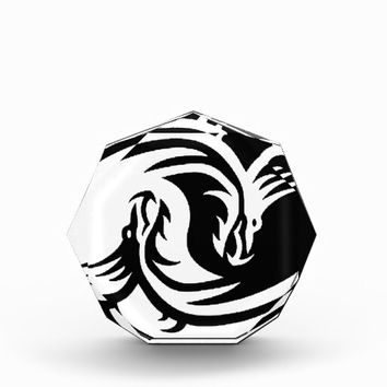 yin-yang dragons tribal pattern white award
