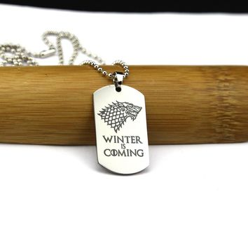 Hot Sale Game of Thrones Necklace House Stark Wolf Logo Metal Round Pendant Winter Is Coming Dog Tag Necklaces Jewelry