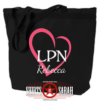 LPN Tote Bag Heart - Personalized Zippered Tote For LPN's - Nursing Nurse Large Black Bags