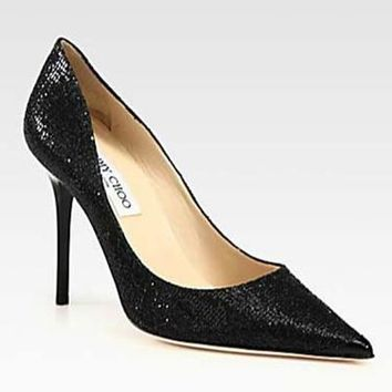 Jimmy Choo Women Fashion Sequins Heels Shoes