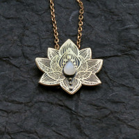 Lotus Pendant - Water Lily Necklace - Brass Flower Necklace - Moonstone Necklace - Heart Chakra Necklace