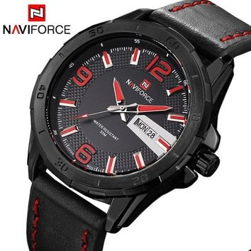 NAVIFORCE NF9055B Luxury Army Military Men's Quartz Analog Leather Sports Watch