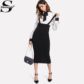 Sheinside High Waist Slit Back Pencil Skirt With Strap Black Knee Length Plain Zipper Skirt Women Elegant Fall Winter Midi Skirt